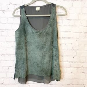 Ecru Suede Sleeveless top Small